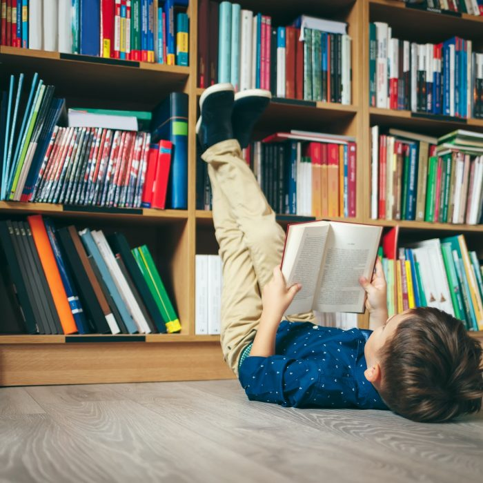 Boy in library